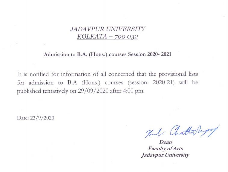 Jadavpur University Merit List 2020 jaduniv.edu.in Download BA, BSc