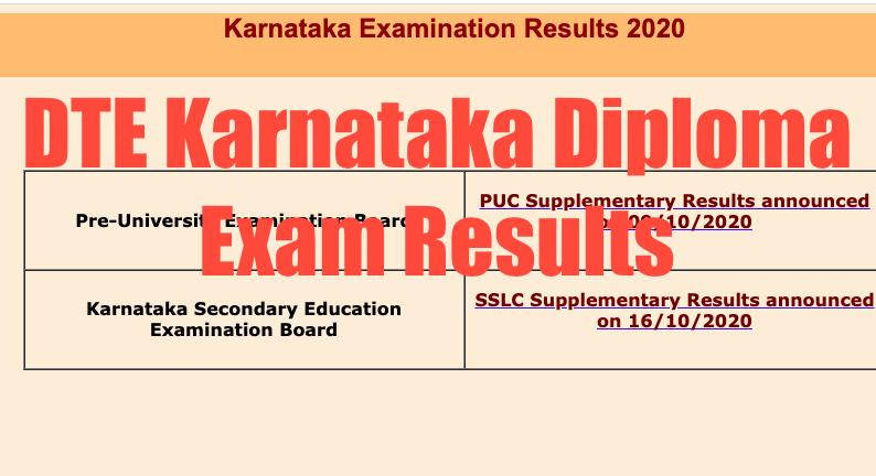 dte karnataka diploma exam results check online link