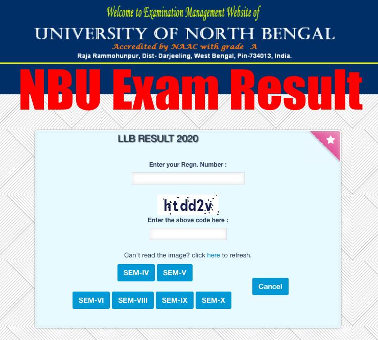 nbu semester exam result online check screen