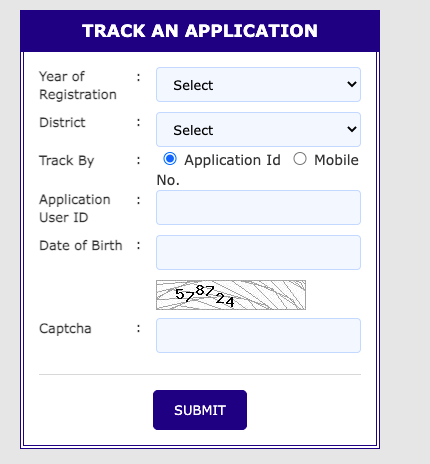 wbmdfc scholarship application form tracking window