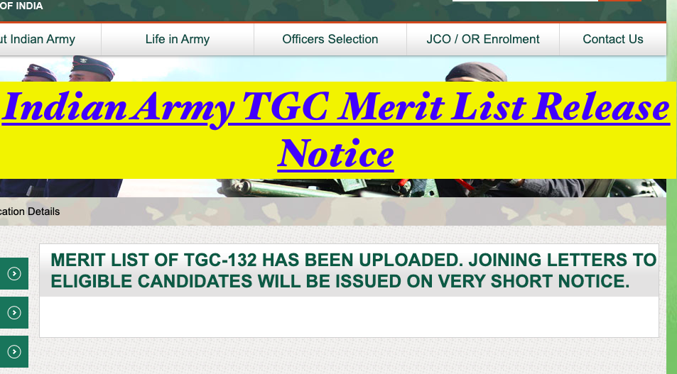 Indian Army TGC Merit List 2021 Result Date, Cut Off