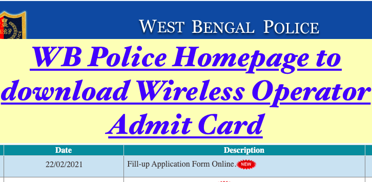 WB Police Wireless Operator Exam Date 2021 Admit Card  wbpolice.gov.in