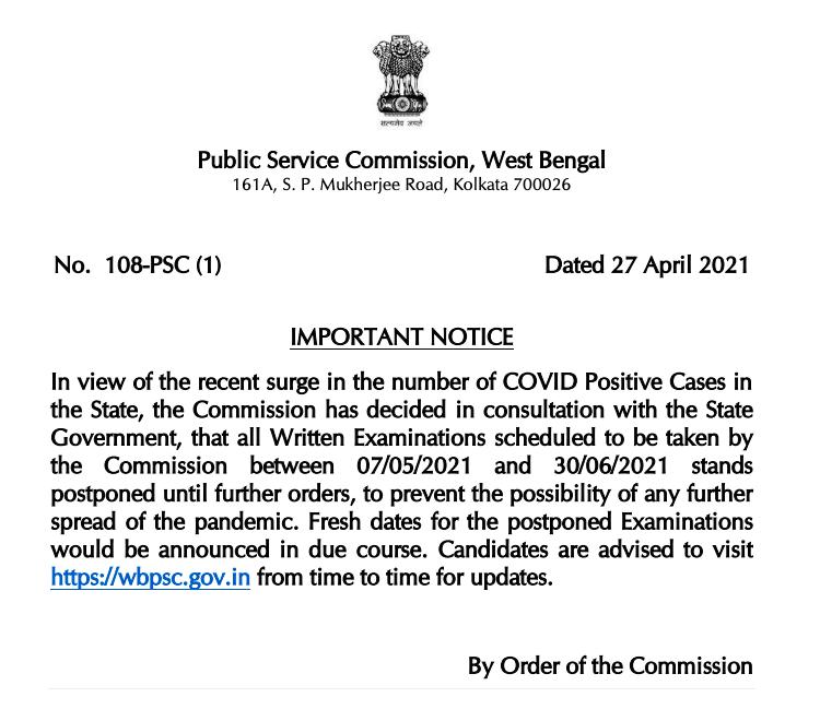 wbpsc workshop instructor written exam date postponement notice 2021 download