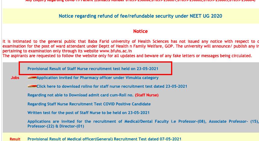bfuhs staff nurse provisional exam result  2021 released at bfuhs.ac.in