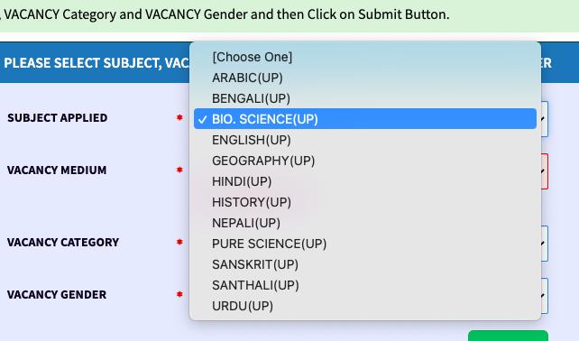 subject name choosing for upper primary verification list