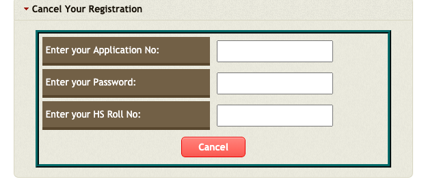 ac college admission registration cancellation screen