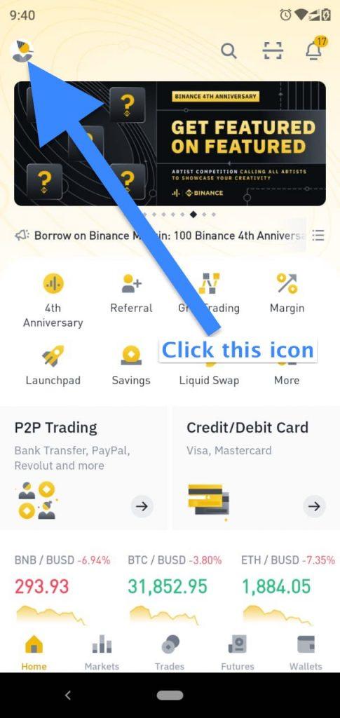 profile image location in binance app