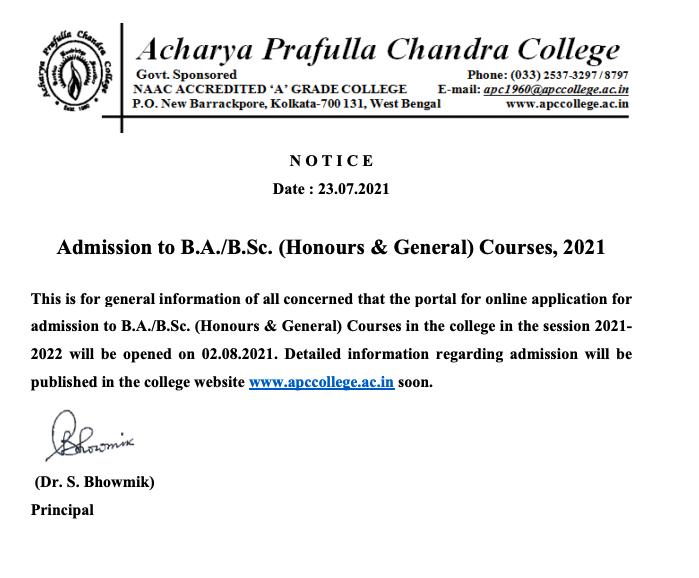 APC College Merit List 2021 notice for ug honours & general courses