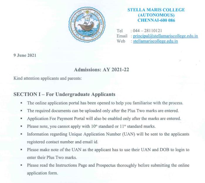 admission notice of Stella maria college 2021-22