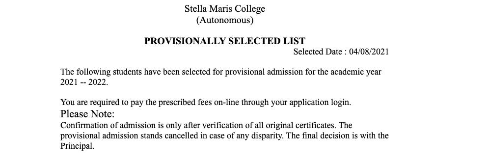 stella maria college selection list 2021 download admission list released online @ stellamariacollege.edu.in