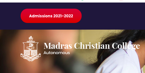 madras christian college (mcc) selection List 2021 MCC Admission Selection List released