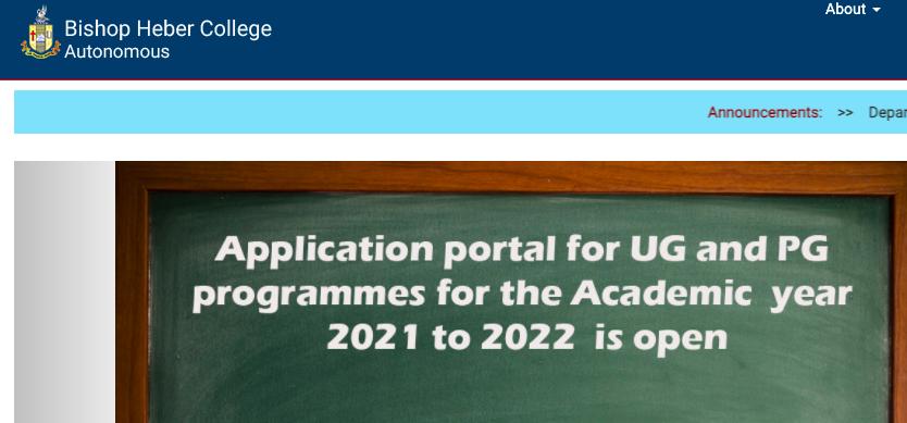 Bishop Heber College admission selection list 2021 download form fill up links