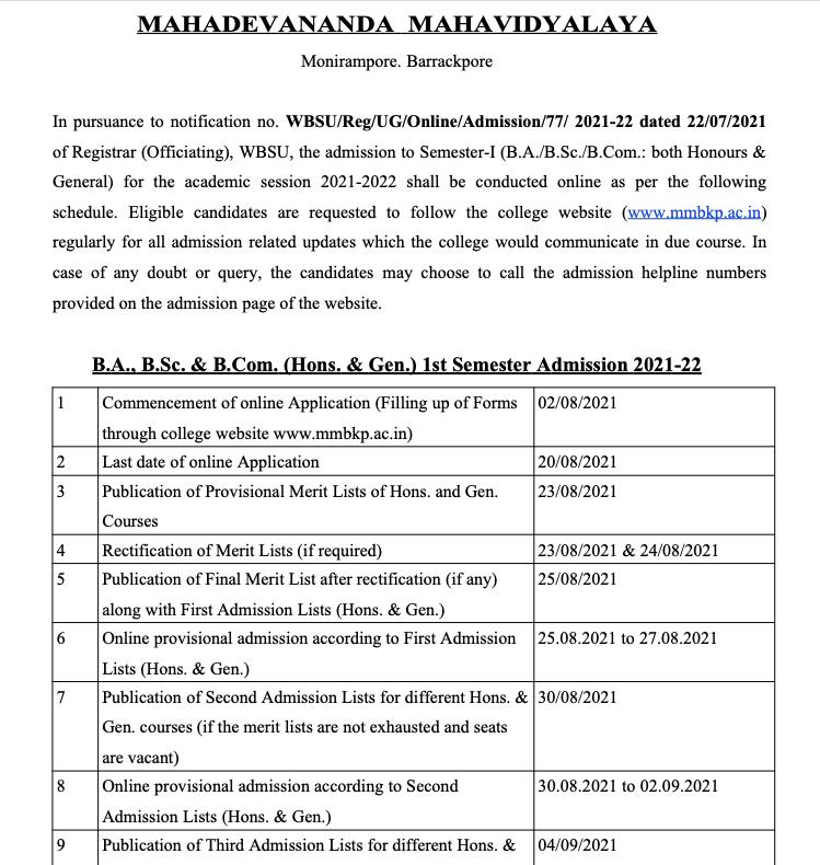 mahadevananda college monirampore admission notice for ug 2021-22 session honours general