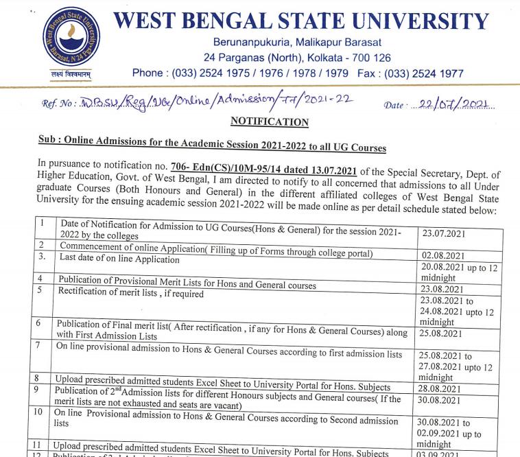 Bamanpukur Humayun Kabir Mahavidyalaya online admission form notice 2021-22 merit list dates out