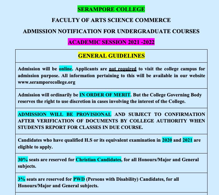 Serampore College Merit list 2021 Check online