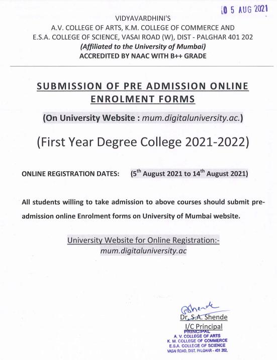 vartak college online admission notice for fy degree 2021-22 - merit list to start soon