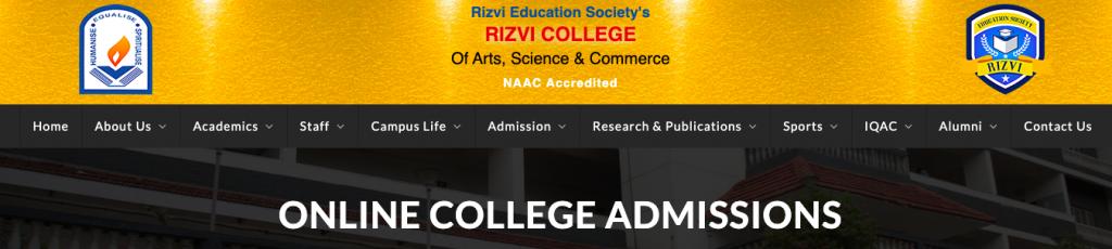 rizvi college online admission 2021-22 merit list schedule download for fyba fybcom fybsc