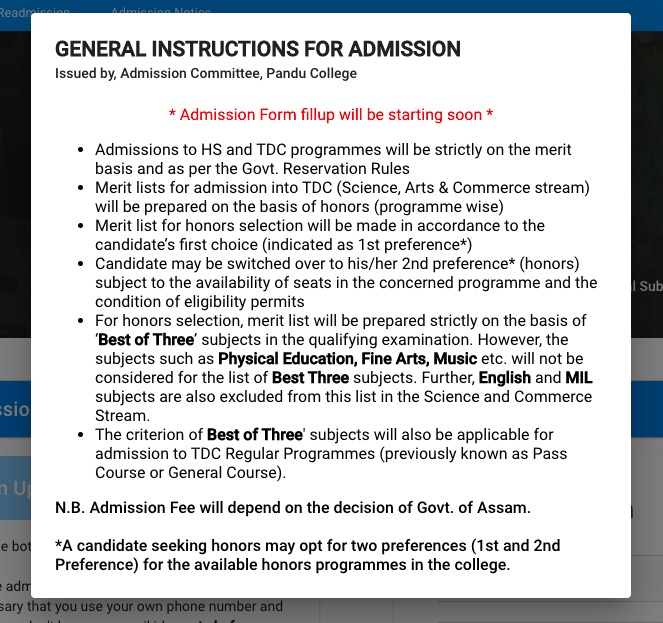 panducollege.org online admission notice on the official website pandu college hs / tdc course admission 2021-22 UG