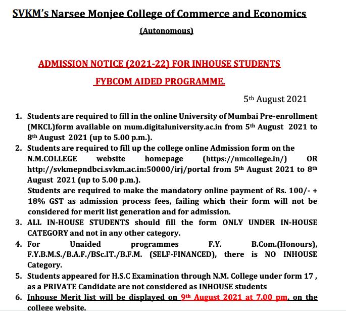 nm college fybcom admission 2021-22 notice download