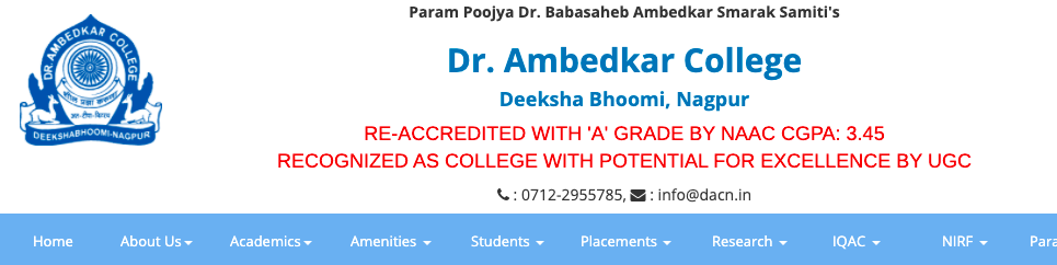 ambedkar college online admission 2021-22 official website to download merit list www.dacn.in first, second cut off list for fyjc 11th class