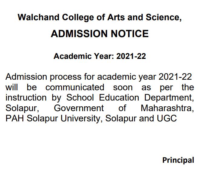 walchand college online merit list 2021-22 preparation notice download
