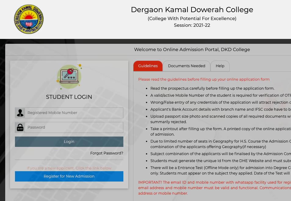 dkd college online merit list 2021 download link - admission portal for Hs / TDC