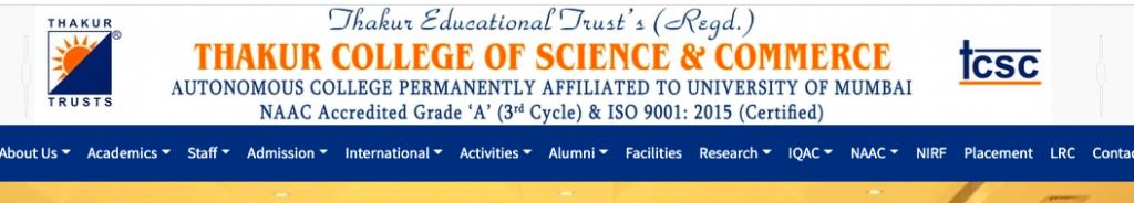 Thakur college online merit list 2021 downloading link announced on 17 august
