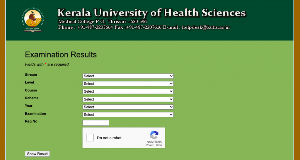 kuhs.ac.in results checking window for bsc nursing & mbbs