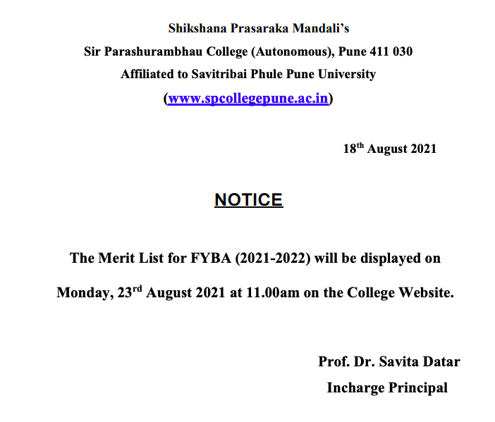 notice on sp college pune fyba merit list release date