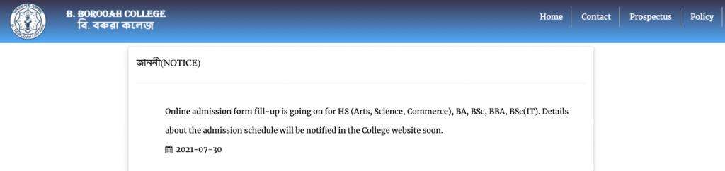 b borooah college online admission notice 2021-22