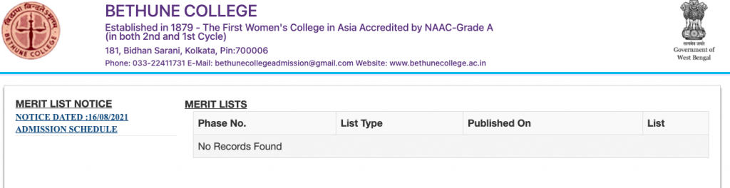 bethune college provisional merit list download admission list 2021 on 23 august honours general