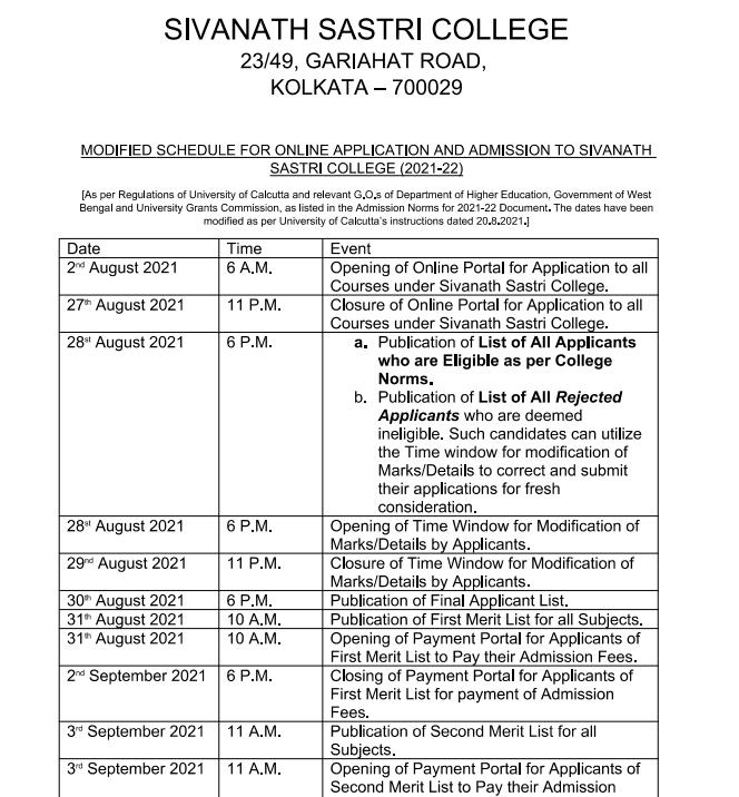 Sivanath Sastri College admission schedule 2021-22 merit list dates