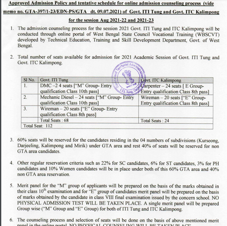 iti tung and kalimpong admission notice 2021 for merit list release