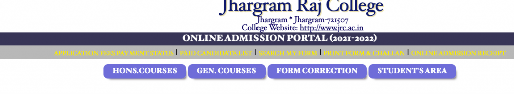 jhargram raj college merit list 2021 links announced at jrcadmission.net