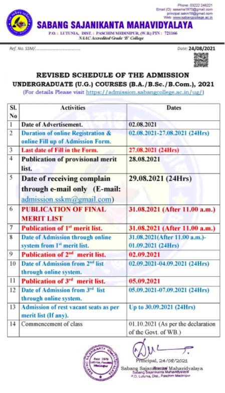 sabang sajanikanta mahavidyalaya admission schedule 2021-22