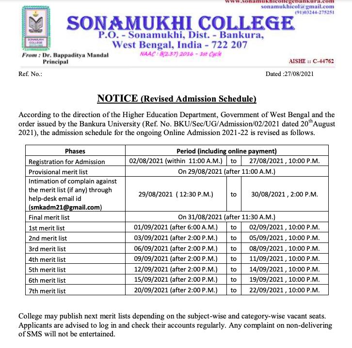 sonamukhi college provisional merit list 2021-22 download date notice announced.