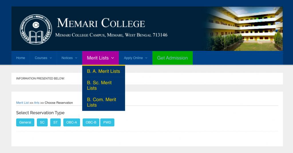 final & 1st admission merit list of memari college admission 2021-22