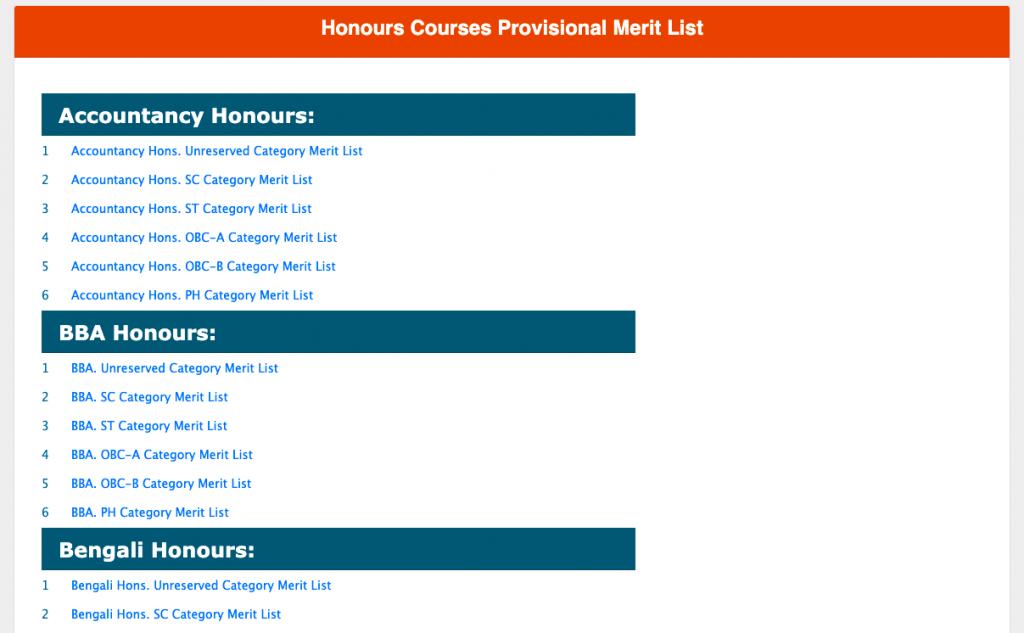 barrackpore surendranath college admission provisional merit list download pdf 2021