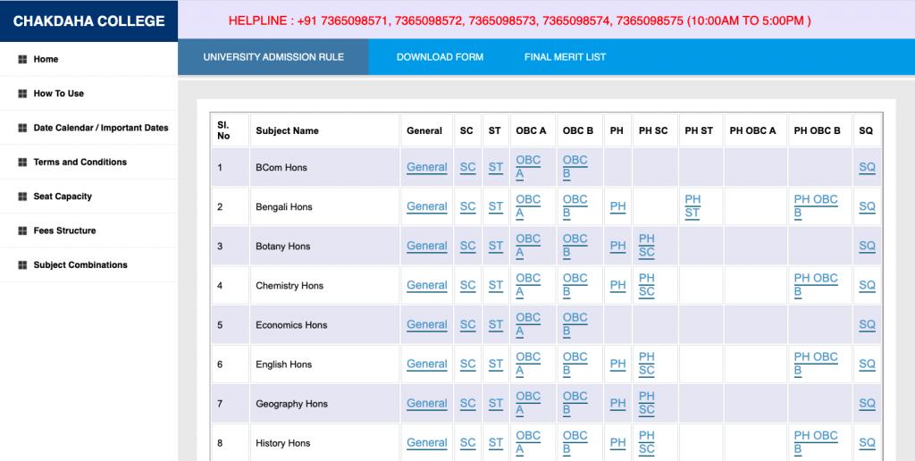 chakdaha college 1st merit list download links released 2021-22