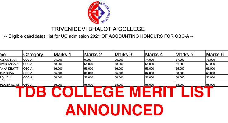 TDB COLLEGE merit list 2021 provisional admission declared - check