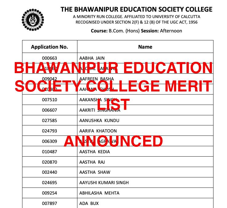 bhawanipur education society college (besc) merit list 2021-22 download links pdf