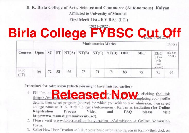 bk birla college fybsc cut off 2021-22 firts merit list announced third