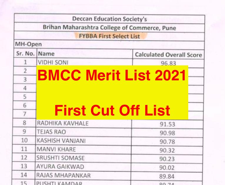 bmcc.ac.in merit list downloading links announced 2021