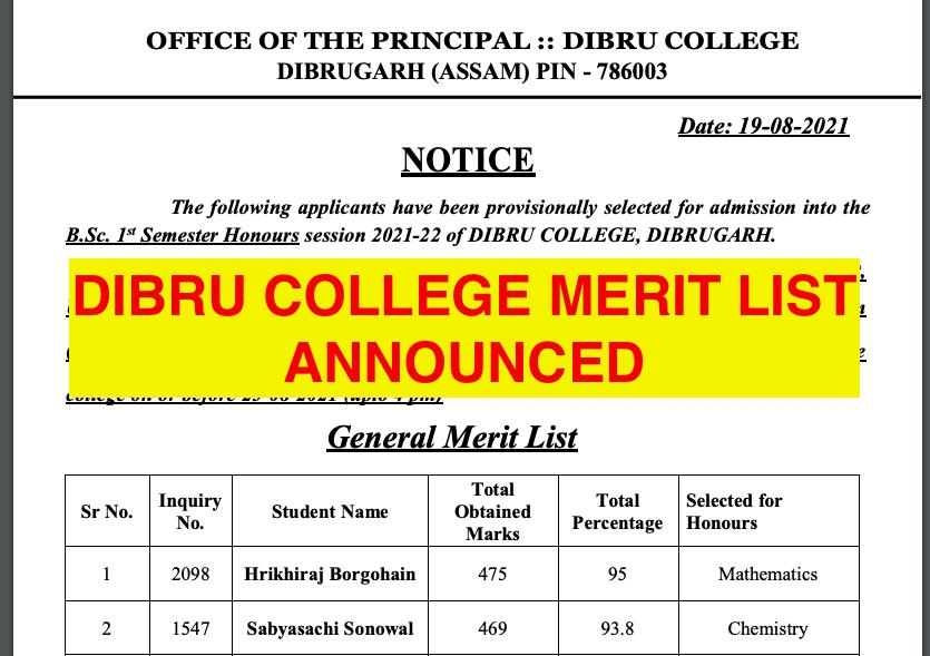 dibru college merit list 2021 announced - download pdf now ba bsc bcom