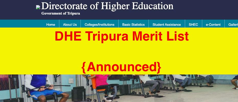 dhe tripura merit list downloading links announced 2021 highereducation.tripura.gov.in