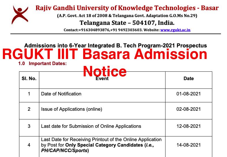 iiit basara selection list 2021-22 download notice for rgukt.ac.in