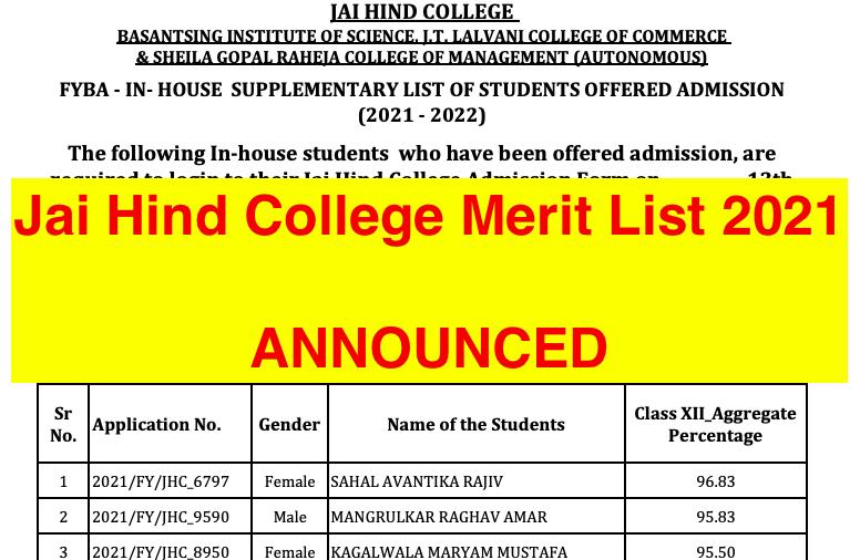 jai hind college merit list 2021-22 download links announced jaihindcollege.com
