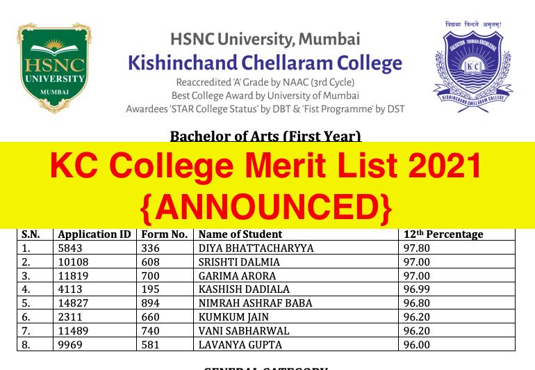 kc college online admission 2021-22 merit list downloading links