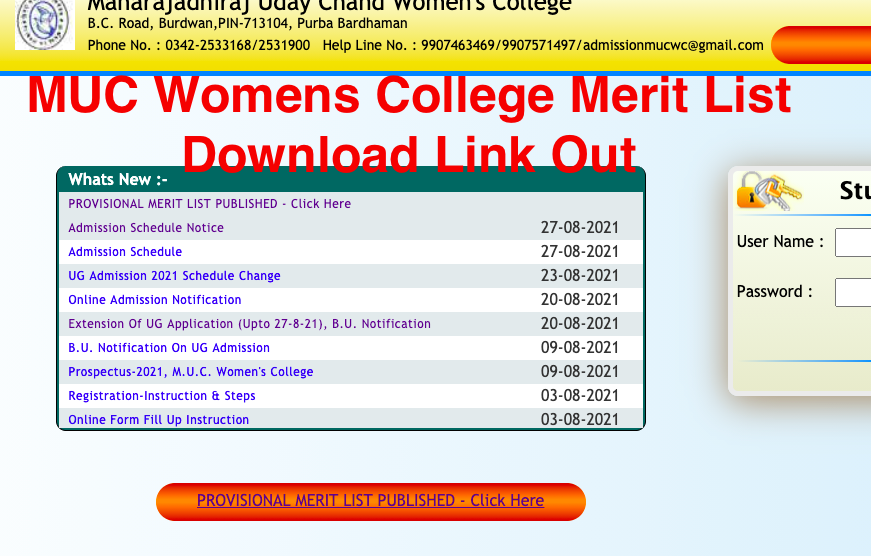 muc womens college Final & 1st merit list download list released now 2021