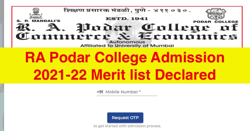 ra podar college merit list download links 2021-22 announced click here